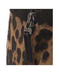 Fendi | Natural Leopard Pony Hair Platform Ankle Boots | Lyst