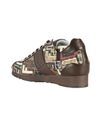 Fendi | Brown Tobacco Mixed Zucca Spalmati Lace-up Sneakers | Lyst