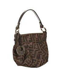 Fendi | Brown Tobacco Zucca Printed Canvas Shoulder Bag | Lyst
