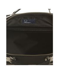 Fred Perry | Black Glazed Faux Leather Inflight Travel Bag for Men | Lyst