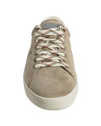 Gucci | Natural Beige Suede Perforated Detail Sneakers for Men | Lyst