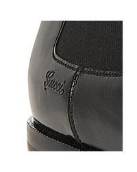 Gucci - Black Leather Cap-toe Chelsea Boots for Men - Lyst