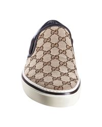 Gucci - Brown Gg Canvas Leather Detail Slip-on Sneakers for Men - Lyst