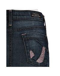 James Jeans | Blue Pink Bandit Mitch Crystal Detail Denim Mini Skirt | Lyst