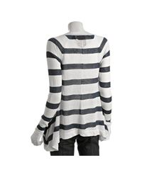 Jamison - Blue Navy Linen Striped Cardigan - Lyst
