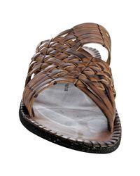 John Varvatos - Brown Dark Ghurka Woven Leather Slide Sandals for Men - Lyst