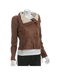June | Brown Cognac Leather Wide Collar Jacket | Lyst