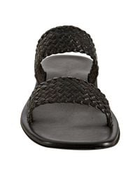 Kenneth Cole - Black Brown Braided Leather Quad Band Slide Sandals for Men - Lyst