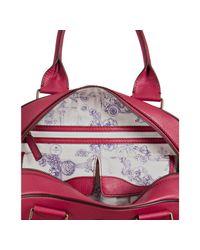Lancel - Red Pebbled Leather Bowler Bag - Lyst
