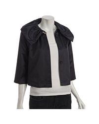 Loeffler Randall | Blue Navy Twill Ruffle Collar Jacket | Lyst