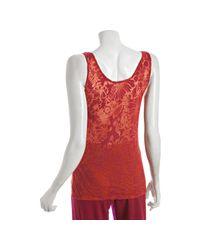 Lucky Brand | Red Terracotta Cotton Stencil Flower Burnout Tank | Lyst