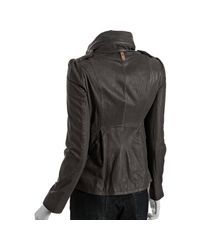 Mackage | Gray Gunmetal Lamb Leather Alexa Stand Collar Jacket | Lyst