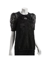 Marc By Marc Jacobs | Black Lace Bow Detail Short Sleeve Blouse | Lyst
