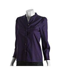 Marc By Marc Jacobs - Purple Deep Plum Cotton Button Front Blouse - Lyst