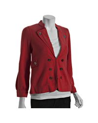 Marc By Marc Jacobs | Poinsetta Red Cotton Button Front Jacket | Lyst