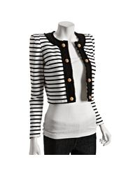 Markus Lupfer | Black and White Striped Cotton Alice Cropped Jacket | Lyst