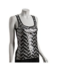 MICHAEL Michael Kors | Gray Charcoal Cotton Sequin Chevron Scoop Neck Tank | Lyst