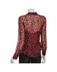 Boutique Moschino - Pink Silk Chiffon Polka Dot Ruffle Blouse - Lyst