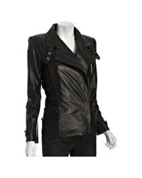 Nicole Miller | Black Leather Power Knit Combo Jacket | Lyst