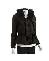 Prada - Black Silk Blend Fur Trim Drawstring Pillow Collar Jacket - Lyst