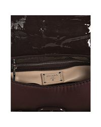 Prada - Purple Bordeaux Nylon and Patent Leather Turnlock Shoulder - Lyst