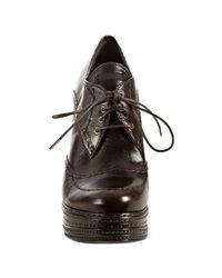 Prada - Dark Brown Stitched Leather Platform Oxford Booties - Lyst