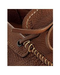 Prada - Brown Cork Leather Tie Detail Moccasins for Men - Lyst