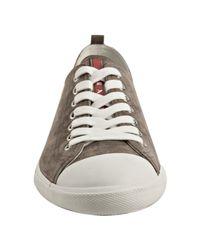 Prada - Brown Sport Taupe Suede Cap Toe Sneakers for Men - Lyst