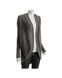 Qi | Black Coal Wool Knit Isis Hooded Cardigan Sweater | Lyst