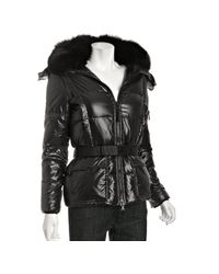 Sam. | Jet Black Laquered Slalom Fox Fur Short Down Coat | Lyst
