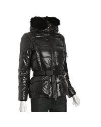 Sam. | Jet Black Laquered Slalom Fox Fur Short Down Coat | Lyst