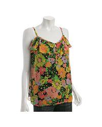 Shoshanna | Black Floral Silk Ruffle Camisole | Lyst