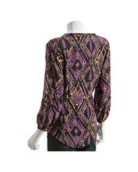 Shoshanna | Purple Midnight Ikat Print Silk V-neck Blouse | Lyst