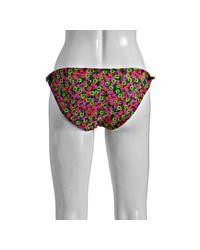 Shoshanna - Pink 80s Floral Print Side Tie Bikini Bottoms - Lyst