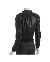 Stella & Jamie - Black Leather Ruched Detail Zip Bomber Jacket - Lyst