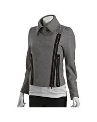 Stella McCartney | Black Houndstooth Wool Blend Bomber Jacket | Lyst