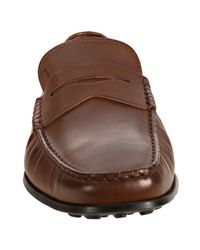 Tod's - Brown Leather Brooklyn Penny Loafers for Men - Lyst