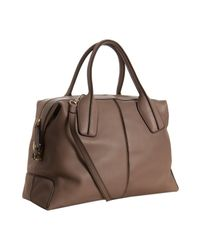 Tod's - Brown Crete Leather D-styling Bauletto Medio Bag - Lyst