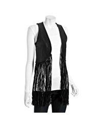 Torn   Black Leather Maggie Long Fringe Vest   Lyst