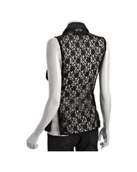 VEDA - Black Leather and Lace Back Long Vest - Lyst