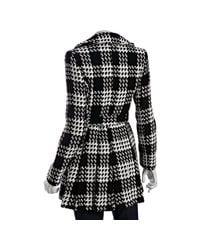 Via Spiga   Black and White Plaid Wool Blend Scarpa Belted Coat   Lyst