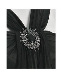 Marc Bouwer Glamit! | Black Satin Brooch Detail Gown | Lyst