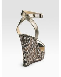 Jimmy Choo | Metallic Ankle-wrap Wedge Sandals | Lyst