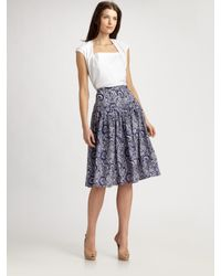 Lafayette 148 New York - Blue Silk Dip-yoke Pleated Skirt - Lyst