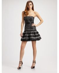 BCBGMAXAZRIA | Black Madeline Stripe Jacquard Strapless Dress | Lyst