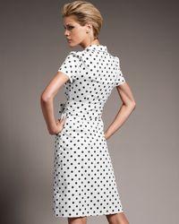 Carolina Herrera | White Polka Dot Poplin Shirtdress | Lyst