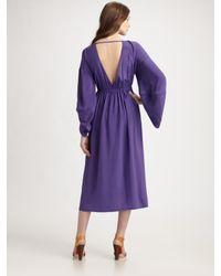 Fendi - Purple Silk Slit Bodice Dress - Lyst
