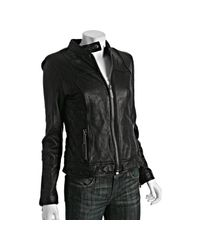 MICHAEL Michael Kors | Black Leather Quilted Detail Zip Jacket | Lyst