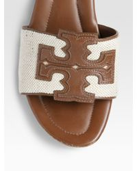 Tory Burch - Brown Terri Canvas & Leather Slide Sandals - Lyst