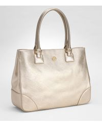 Tory Burch - Robinson Metallic Leather Tote - Lyst